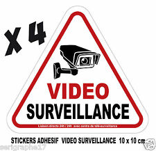 Lot de 4 stickers adhesif camera video surveillance / format 10x10cm / ref SV01
