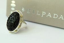 Silpada NIB Into the Night Black Brass Agate Sterling Silver Size 10 Ring R3362