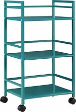 Marshall 3-Shelf Metal Rolling Utility Cart Teal Finish Teal