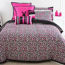 PLAYBOY BUNNY PINK BLACK LEOPARD KING QUILT DOONA COVER  NEW