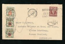 POSTAGE DUE SWITZERLAND +SURCHARGES from GB 1938 PERFIN M + C KIRKLAND HOUSE ENV