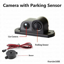 2in1 Car Parking Reversing Radar Sensor Rear View Backup 120° Camera Universal