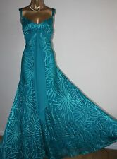 ᴥMONSOON DRESS SZ 12 TURQUOISE BLUE DEVORE SILK GOWN BALL WEDDING MAXI COCKTAIL