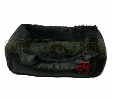 Black SMALL Rex Leather & Fur Puppy Pet Dog Cat Nesting Bed Mat Basket Washable