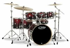 DW drums sets Pacific Concept Maple 7 pc PDP kit Red to Black Fade Sparkle CM7