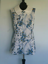 Original Vintage 60s Floral Dress UK 16/18 Micro Mini Mod Scooter Crimplene