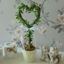 Heart Potted Plant Shabby Table Accessory Ribbon Gift Wedding Home Decor Love