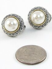 Two Tone Round Cream Pearl Designer Inspired Clip-On Earrings