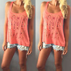 Plus Size Women Sexy Lace Blouses V-neck Shirts Chiffon Sleeveless Top S-5XL