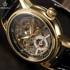 Orkina Gold Black Skeleton Mens Sport Army Automatic Mechanical Watch