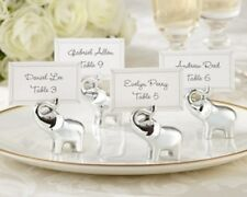 96 Lucky in Love Silver-Finish Elephant Wedding Place Card Holders Favors