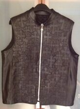 CHROME HEARTS MENS / UNISEX $8500 BLACK LEATHER VEST SZ. LARGE PRE-OWNED USA