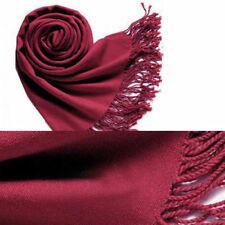 Wine Red Womens Cashmere Silk Solid Long Scarf Pashmina Shawl Wrap winter warm