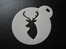 Laser cut small Stag head design cake, cookie,craft & face painting stencil