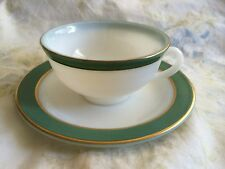 VINTAGE PYREX DARK GREEN GOLD BAND TEA COFFEE CUP AND SAUCER SET
