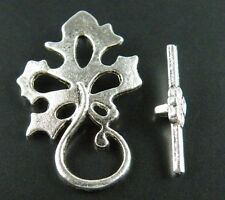 20sets Tibetan Silver Nice Leaves Toggle Clasps 31x20mm 1523