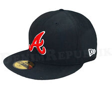 New Era 59FIFTY ATLANTA BRAVES Black Red White Cap MLB Baseball 5950 Fitted Hat