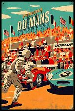 Dunlop Du Mans Galvanized Steel & Enamel Display Metal  Sign