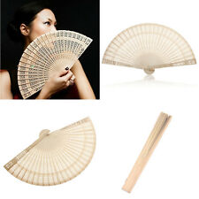 Delicate 1Pc Chinese Asian Fragrant Wood Carved Hollow Foldable Folding Hand Fan