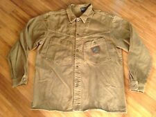 Mens Vintage Karl Kani Jeans Khaki Brown Hip Hop Jacket Size Large Metal Patch