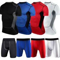 Mens Compression Base Layer Top T-Shirt Shorts Pants Under Skin Sports Gear Wear