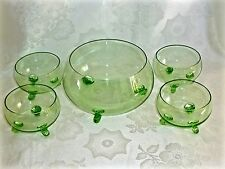FANTASTIC  ANTIQUE  GREEN  GLASS  DESSERT SET FOR 4 BOHEMIA