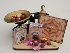 Dolls house food: Chocolate shop weighing scales & assorted chocolates -By Fran