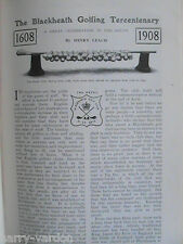 Blackheath Golf Tercentenary 1608 Rare Antique Henry Leach Golfing Article 1908