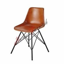 Chaise Design Cuir, Pieds Tour Eiffe Brown Leather Chair Metal Dining Chairs 78