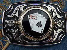 NEW HANDCRAFTED ACE OF SPADES ROYAL FLUSH BELT BUCKLE SILVER/BLACK METAL,WESTERN