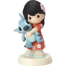 $ PRECIOUS MOMENTS DISNEY Figurine STITCH OHANA MAU LOA Girl Porcelain Statue