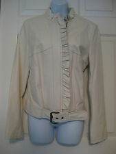 Paul & Joe for Target leather jacket coat winter white belted biker Size L
