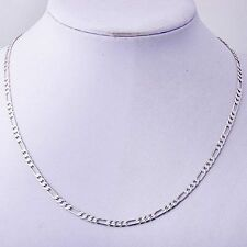 20.3'' Korean Women's  White Gold Filled Figaro Curb Chain Necklace Jewelry