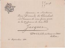 § FAIRE-PART NAISSANCE JACQUES DEVAULX DE CHAMBORD - Cosnes-sur-l'Oeil 1886 §