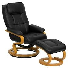 Contemporary Black Leather Recliner & Ottoman w/Swiveling Maple Wood Base chair