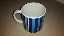 White Standard Sized Coffee Mug with blue and green stripes