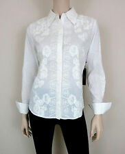 NWT $210 BCBG MAX AZRIA Shirt Botton Down Long Sleeve Floral Embroidery White XS