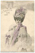 a/s L. VILLARD. JOLIE FEMME. BEAUTIFUL WOMAN. LA PARISIENNE. ETE 1905. SUMMER