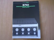 Studer revox b750 instructions OPERATING INSTRUCTIONS mode d emploi