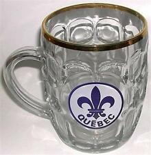 BEER DRINKING GLASS MUG QUEBEC FLEUR D LIS EMBLEM GOLD