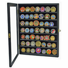High Quality Wood Cabinet Coin Badge Casino Chip Medal Display Case Glass Cover