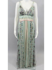 NWT CARLOS MIELE Mint Green Abstract Printed Silk Cutaway Low Back Dress Gown 42