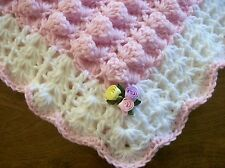 NEW HAND MADE Crochet PINK Baby Crib Blanket Afghan