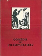 Programme Comédie des Champs Elysées 1959 Théatre L'hurluberlu Anouilh  Meurisse