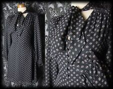 Gothic Black Tiny Button 40's MOROSE Pussy Bow Tea Dress 14 16 Victorian Vintage