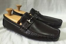 Figaro Men's 45 Brown Leather Driving Bit Loafers Shoes Fashion Snip Toe Buckle
