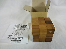 3-D Bits & Pieces WOODEN SNAKE CUBE PUZZLE w Instructions & Box ~ Boston USA