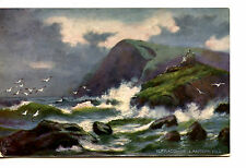 Pretty Art-Waves-Ilfracombe Lantern Hill Devon Coast-England-Vintage Postcard