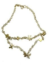 FOLLI FOLLIE GOLD PLATED TWO LAYER BUTTERFLY NECKLACE