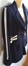 SERENA KAY Skirt Suit Jacket/Blazer Navy Blue White Strips Sz 38 Made In France